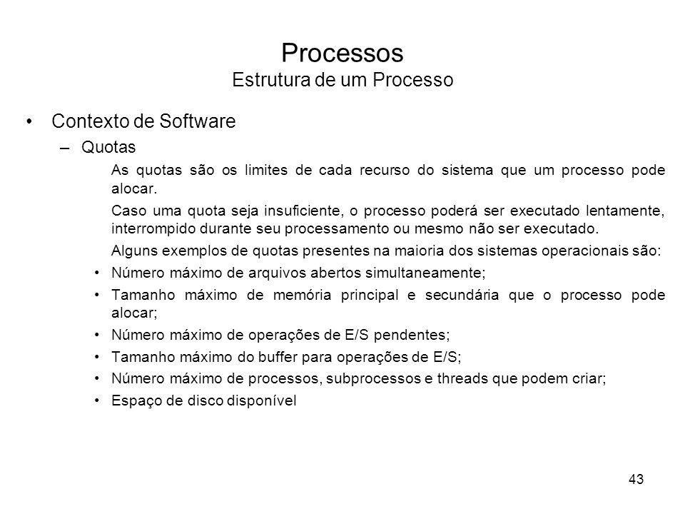 Processos Estrutura de um Processo Contexto de Software –Quotas As quotas são os limites de cada recurso do sistema que um processo pode alocar. Caso