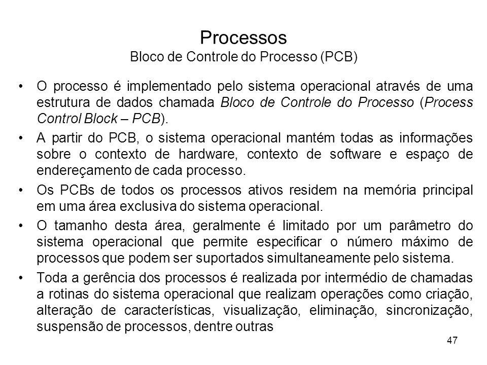 O processo é implementado pelo sistema operacional através de uma estrutura de dados chamada Bloco de Controle do Processo (Process Control Block – PC