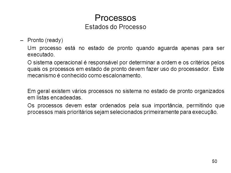 –Pronto (ready) Um processo está no estado de pronto quando aguarda apenas para ser executado. O sistema operacional é responsável por determinar a or