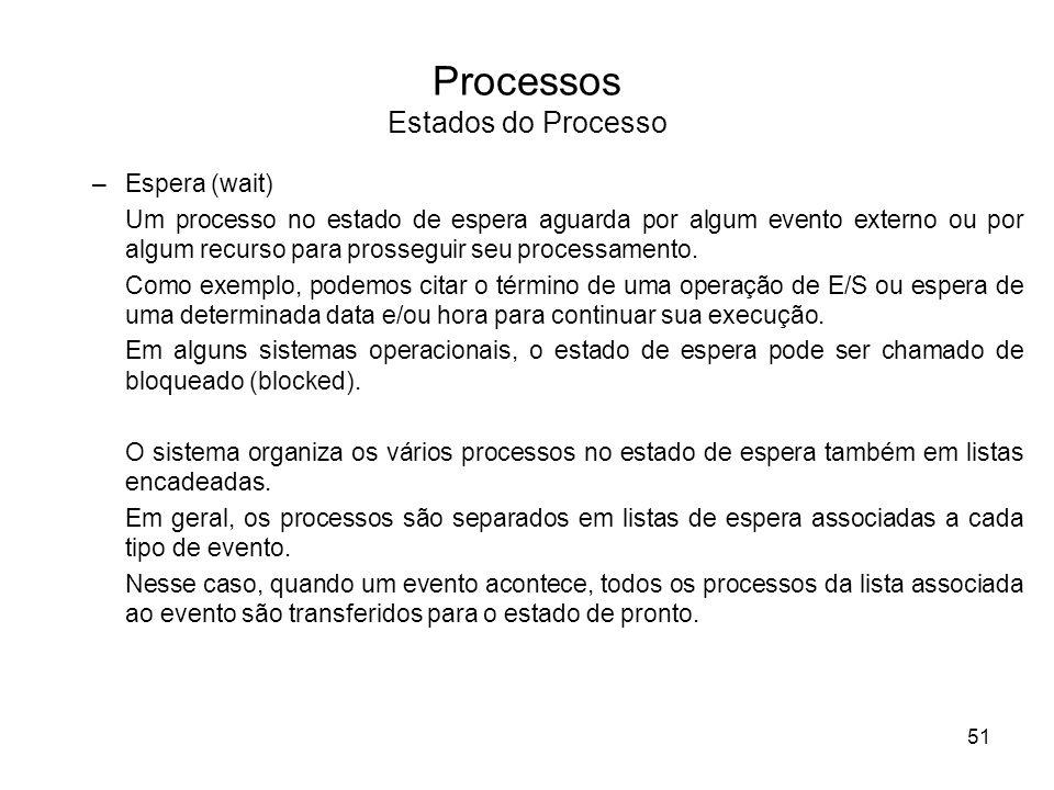 –Espera (wait) Um processo no estado de espera aguarda por algum evento externo ou por algum recurso para prosseguir seu processamento. Como exemplo,
