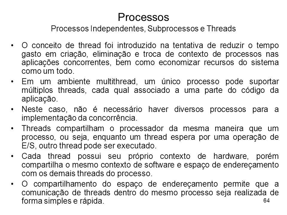 O conceito de thread foi introduzido na tentativa de reduzir o tempo gasto em criação, eliminação e troca de contexto de processos nas aplicações conc
