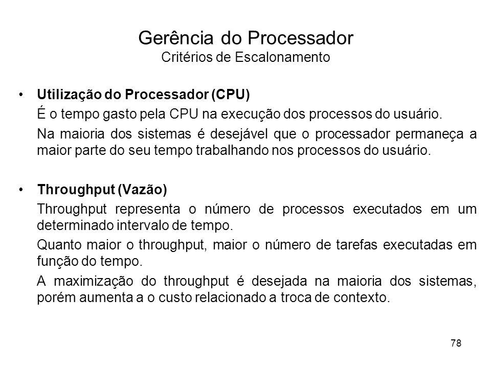 Utilização do Processador (CPU) É o tempo gasto pela CPU na execução dos processos do usuário. Na maioria dos sistemas é desejável que o processador p