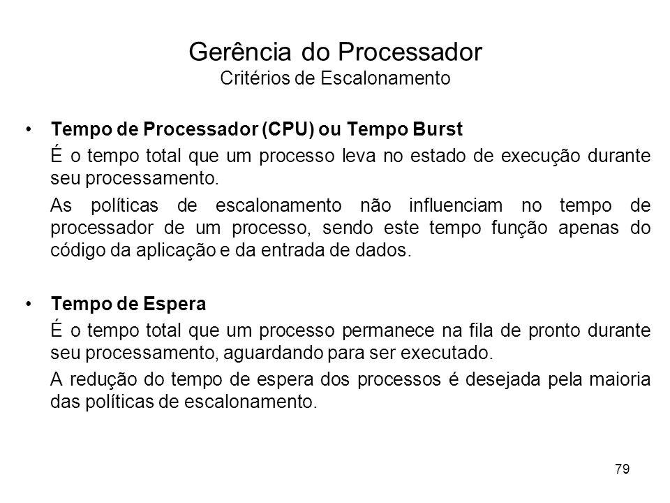 Tempo de Processador (CPU) ou Tempo Burst É o tempo total que um processo leva no estado de execução durante seu processamento. As políticas de escalo