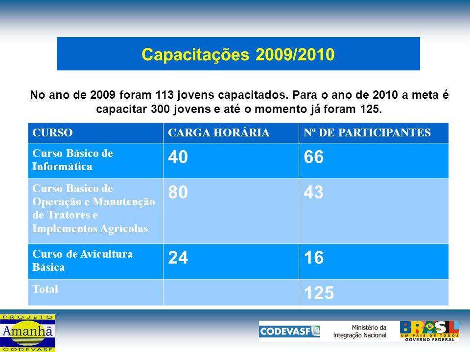 Capacitações 2009/2010 No ano de 2009 foram 113 jovens capacitados.
