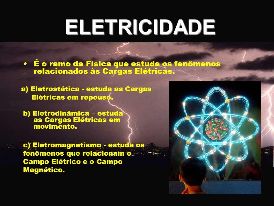 ELETRICIDADE É o ramo da Física que estuda os fenômenos relacionados às Cargas Elétricas. a) Eletrostática - estuda as Cargas Elétricas em repouso. b)