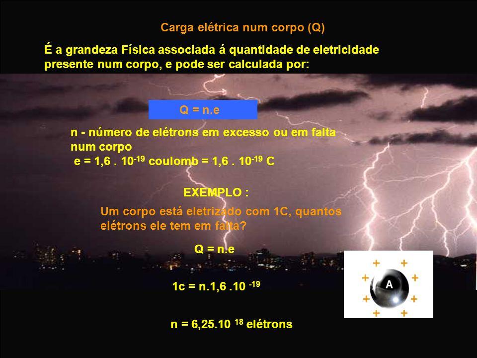 EXEMPLO : Um corpo está eletrizado com 1C, quantos elétrons ele tem em falta? Q = n.e Carga elétrica num corpo (Q) É a grandeza Física associada á qua