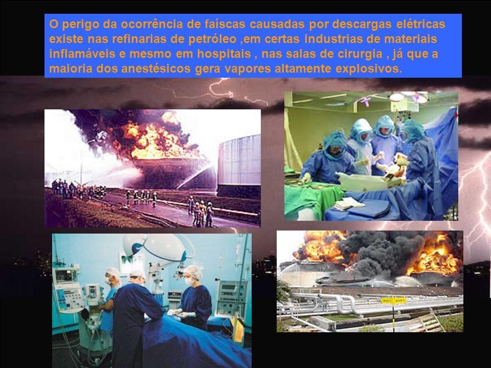 O perigo da ocorrência de faíscas causadas por descargas elétricas existe nas refinarias de petróleo,em certas industrias de materiais inflamáveis e m