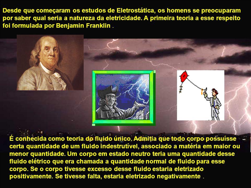 Desde que começaram os estudos de Eletrostática, os homens se preocuparam por saber qual seria a natureza da eletricidade. A primeira teoria a esse re