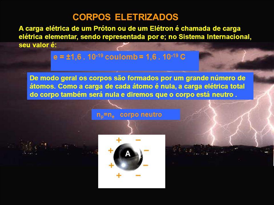 CORPOS ELETRIZADOS A carga elétrica de um Próton ou de um Elétron é chamada de carga elétrica elementar, sendo representada por e; no Sistema Internac