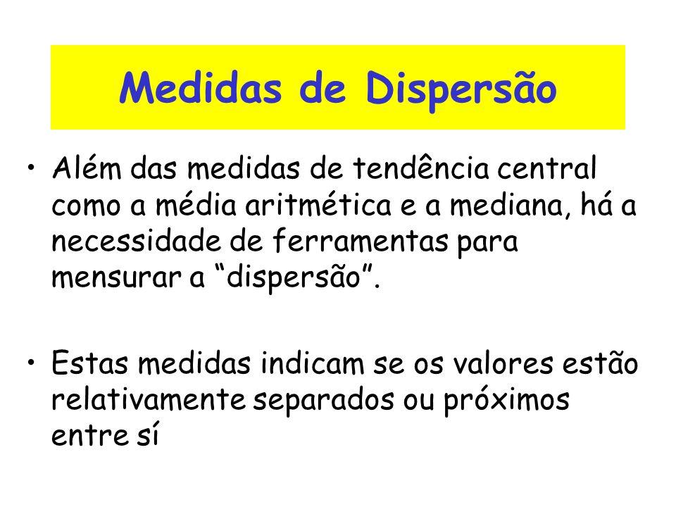 Medidas de Dispersão Além das medidas de tendência central como a média aritmética e a mediana, há a necessidade de ferramentas para mensurar a disper