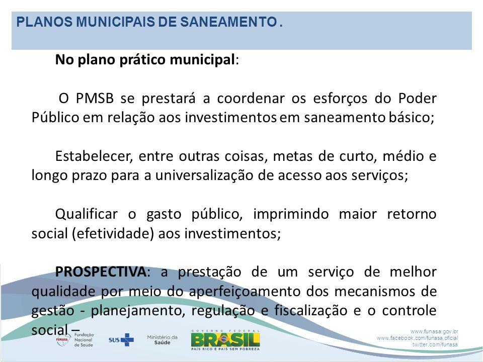 www.funasa.gov.br www.facebook.com/funasa.oficial twitter.com/funasa PLANOS MUNICIPAIS DE SANEAMENTO.