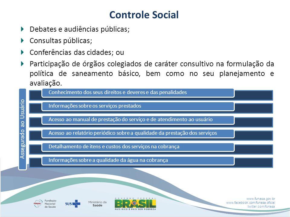 www.funasa.gov.br www.facebook.com/funasa.oficial twitter.com/funasa Debates e audiências públicas; Consultas públicas; Conferências das cidades; ou Participação de órgãos colegiados de caráter consultivo na formulação da política de saneamento básico, bem como no seu planejamento e avaliação.