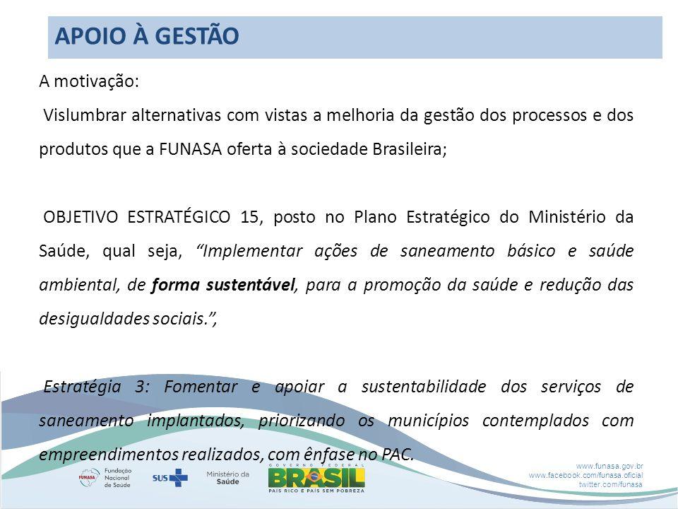 www.funasa.gov.br www.facebook.com/funasa.oficial twitter.com/funasa APOIO À GESTÃO A motivação: Vislumbrar alternativas com vistas a melhoria da gestão dos processos e dos produtos que a FUNASA oferta à sociedade Brasileira; OBJETIVO ESTRATÉGICO 15, posto no Plano Estratégico do Ministério da Saúde, qual seja, Implementar ações de saneamento básico e saúde ambiental, de forma sustentável, para a promoção da saúde e redução das desigualdades sociais., Estratégia 3: Fomentar e apoiar a sustentabilidade dos serviços de saneamento implantados, priorizando os municípios contemplados com empreendimentos realizados, com ênfase no PAC.