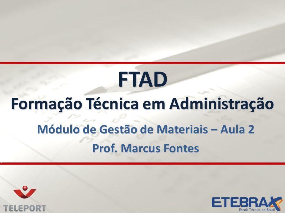 FTAD Formação Técnica em Administração Módulo de Gestão de Materiais – Aula 2 Prof. Marcus Fontes