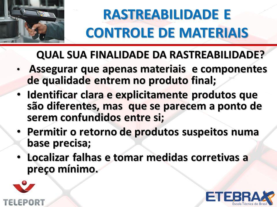 RASTREABILIDADE E CONTROLE DE MATERIAIS QUAL SUA FINALIDADE DA RASTREABILIDADE? Assegurar que apenas materiais e componentes de qualidade entrem no pr