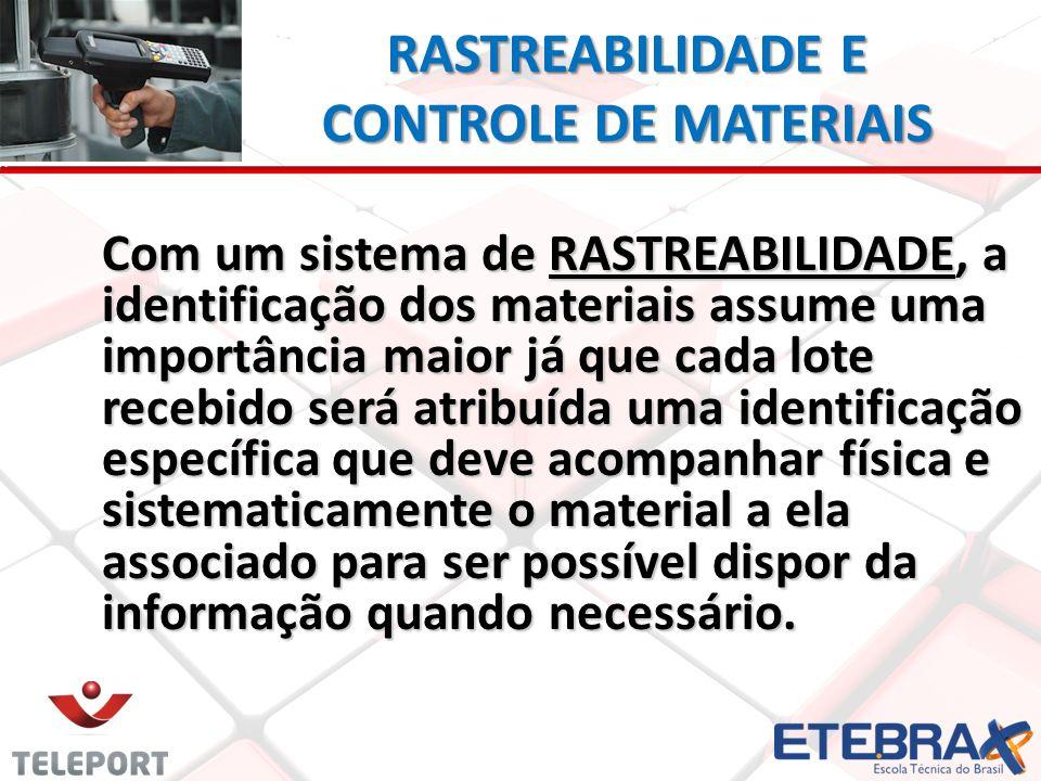 RASTREABILIDADE E CONTROLE DE MATERIAIS Com um sistema de RASTREABILIDADE, a identificação dos materiais assume uma importância maior já que cada lote