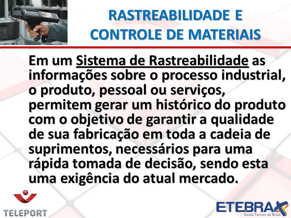 RASTREABILIDADE E CONTROLE DE MATERIAIS Em um Sistema de Rastreabilidade as informações sobre o processo industrial, o produto, pessoal ou serviços, p
