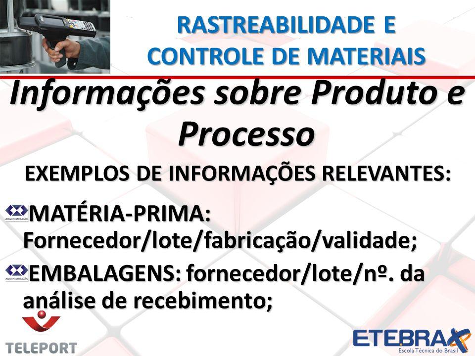 Informações sobre Produto e Processo EXEMPLOS DE INFORMAÇÕES RELEVANTES: MATÉRIA-PRIMA: Fornecedor/lote/fabricação/validade; EMBALAGENS: fornecedor/lo