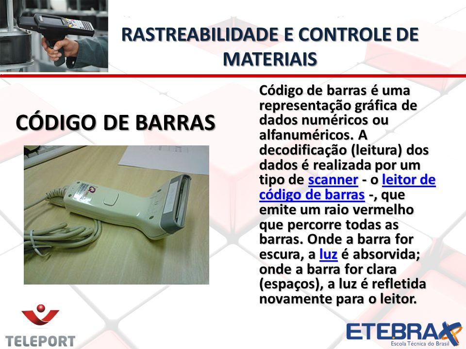 RASTREABILIDADE E CONTROLE DE MATERIAIS CÓDIGO DE BARRAS CÓDIGO DE BARRAS Código de barras é uma representação gráfica de dados numéricos ou alfanumér