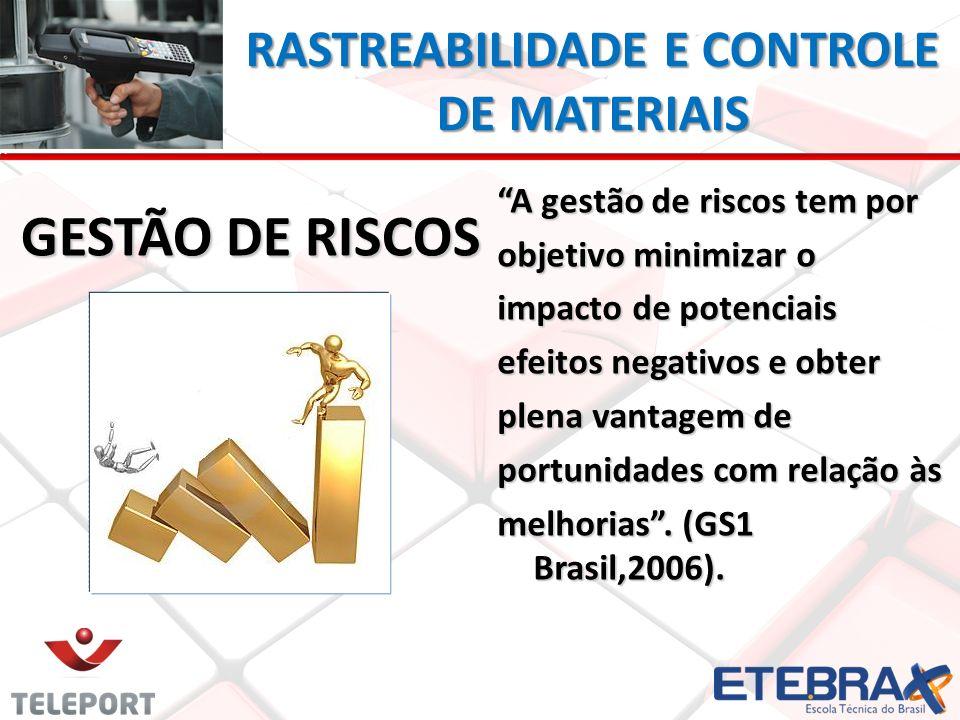 RASTREABILIDADE E CONTROLE DE MATERIAIS GESTÃO DE RISCOS A gestão de riscos tem por objetivo minimizar o impacto de potenciais efeitos negativos e obt