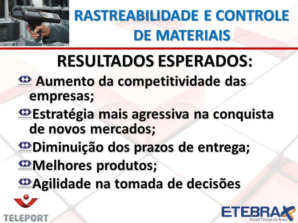 RASTREABILIDADE E CONTROLE DE MATERIAIS RESULTADOS ESPERADOS: Aumento da competitividade das empresas; Aumento da competitividade das empresas; Estrat