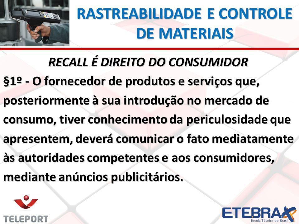 RASTREABILIDADE E CONTROLE DE MATERIAIS RECALL É DIREITO DO CONSUMIDOR RECALL É DIREITO DO CONSUMIDOR §1º - O fornecedor de produtos e serviços que, p