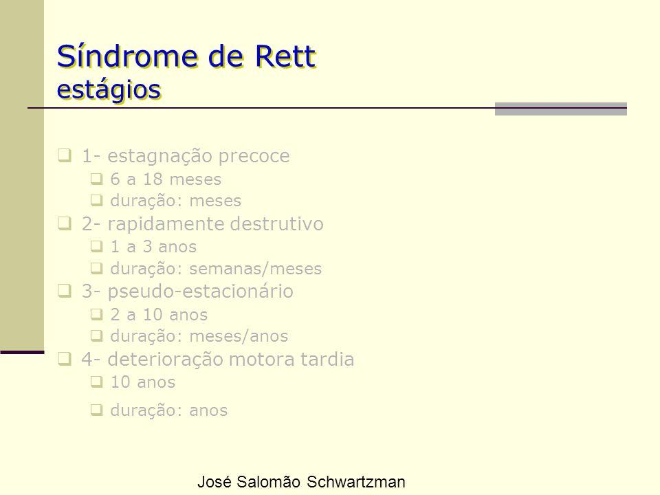 Síndrome de Rett estágios 1- estagnação precoce 6 a 18 meses duração: meses 2- rapidamente destrutivo 1 a 3 anos duração: semanas/meses 3- pseudo-esta