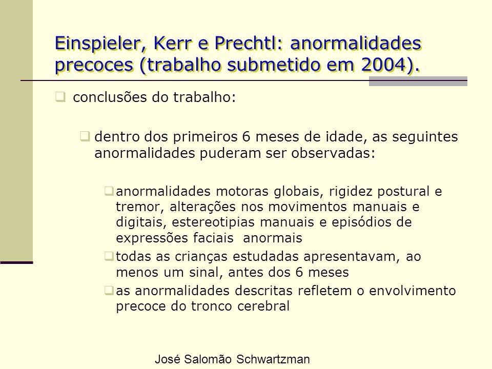 Einspieler, Kerr e Prechtl: anormalidades precoces (trabalho submetido em 2004). conclusões do trabalho: dentro dos primeiros 6 meses de idade, as seg