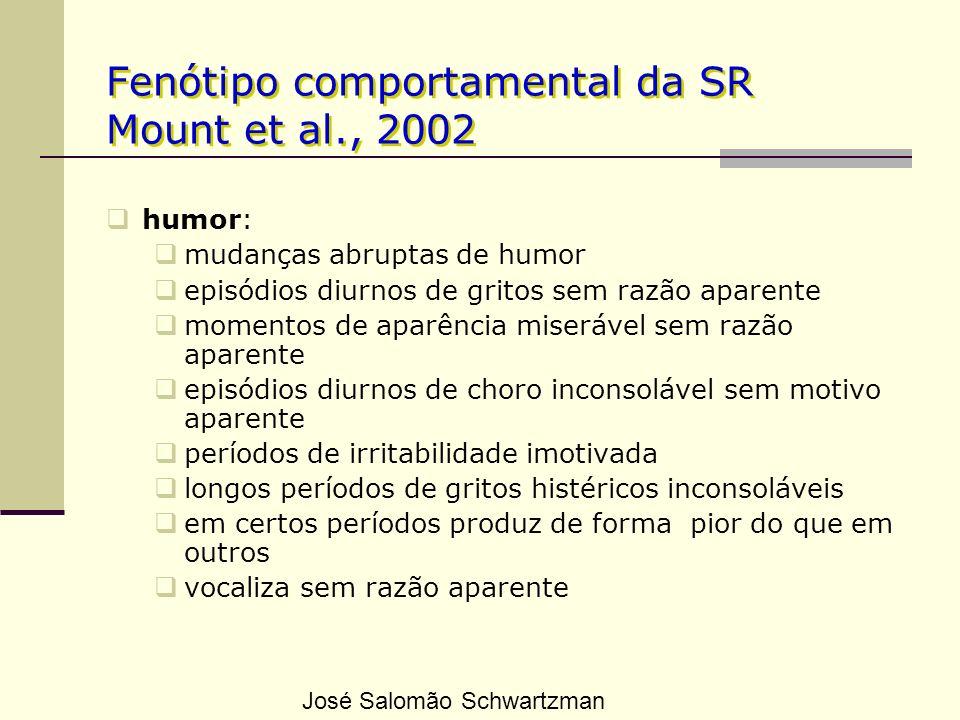 Fenótipo comportamental da SR Mount et al., 2002 humor: mudanças abruptas de humor episódios diurnos de gritos sem razão aparente momentos de aparênci