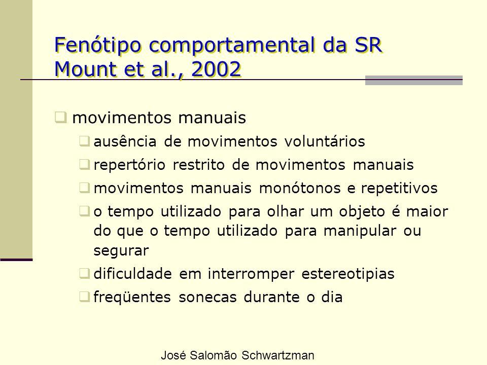 Fenótipo comportamental da SR Mount et al., 2002 movimentos manuais ausência de movimentos voluntários repertório restrito de movimentos manuais movim