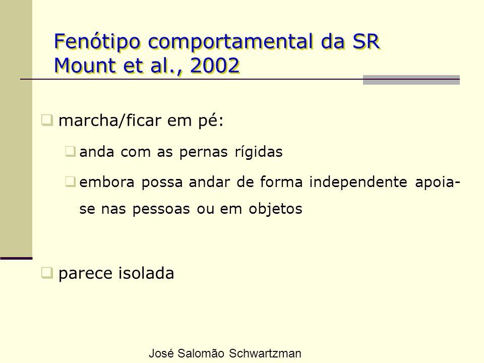 Fenótipo comportamental da SR Mount et al., 2002 marcha/ficar em pé: anda com as pernas rígidas embora possa andar de forma independente apoia- se nas