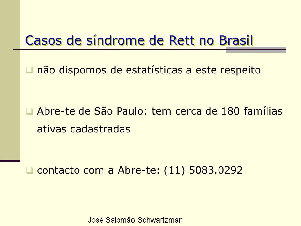 Casos de síndrome de Rett no Brasil não dispomos de estatísticas a este respeito Abre-te de São Paulo: tem cerca de 180 famílias ativas cadastradas co