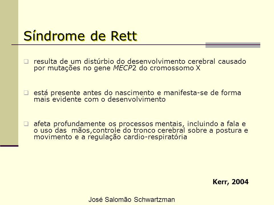 Fenótipo comportamental da SR Mount et al., 2002 elaboraram um Questionário Comportamental grupos estudados: 143 meninas com SR (com menos de 19 anos) 85 meninas com deficiência mental severa ou profunda José Salomão Schwartzman