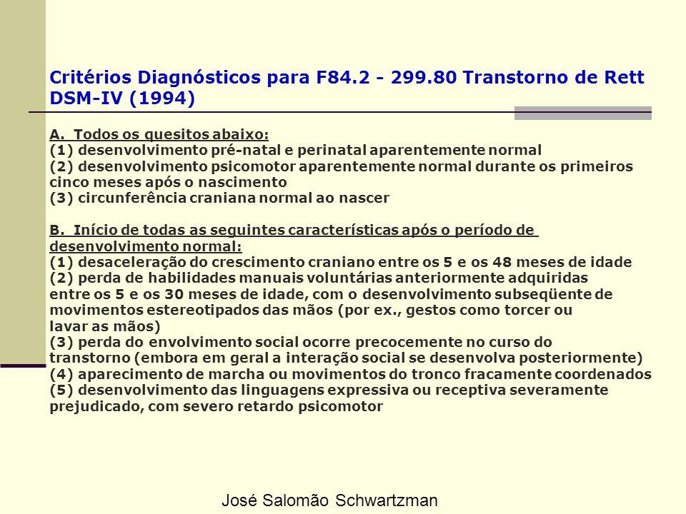 Critérios Diagnósticos para F84.2 - 299.80 Transtorno de Rett DSM-IV (1994) A. Todos os quesitos abaixo: (1) desenvolvimento pré-natal e perinatal apa