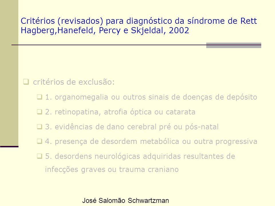 Critérios (revisados) para diagnóstico da síndrome de Rett Hagberg,Hanefeld, Percy e Skjeldal, 2002 critérios de exclusão: 1. organomegalia ou outros