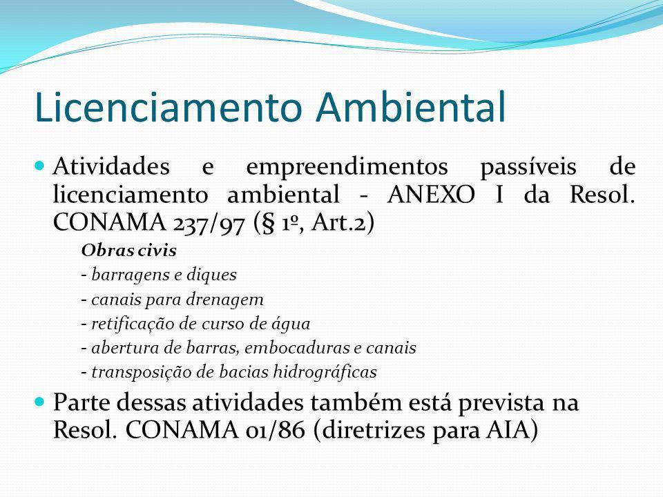 Licenciamento Ambiental Atividades e empreendimentos passíveis de licenciamento ambiental - ANEXO I da Resol. CONAMA 237/97 (§ 1º, Art.2) Obras civis