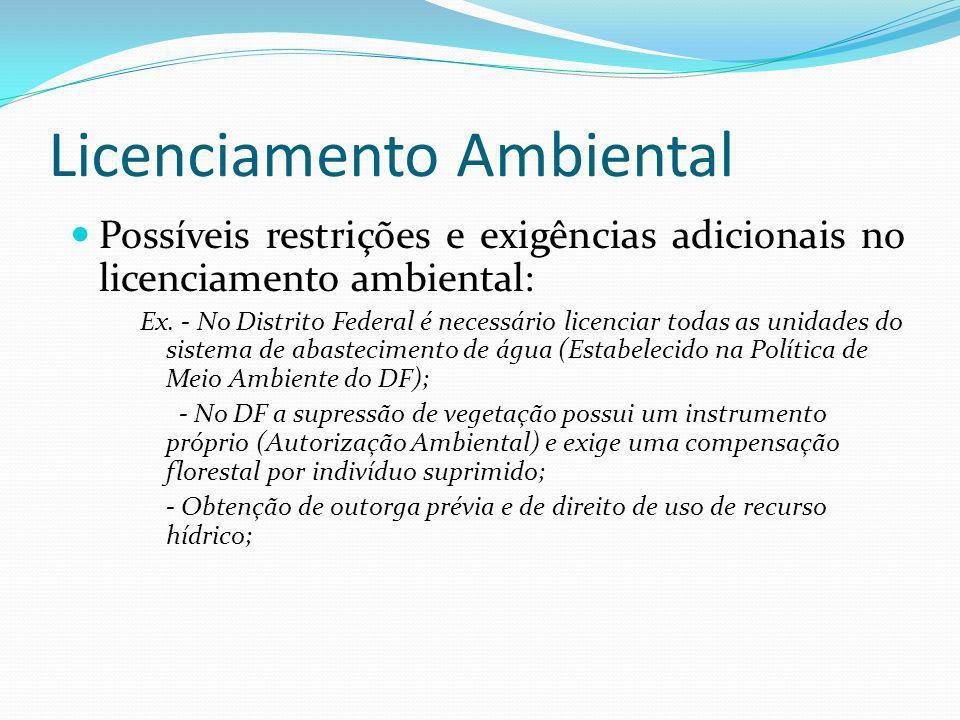 Licenciamento Ambiental Possíveis restrições e exigências adicionais no licenciamento ambiental: Ex. - No Distrito Federal é necessário licenciar toda
