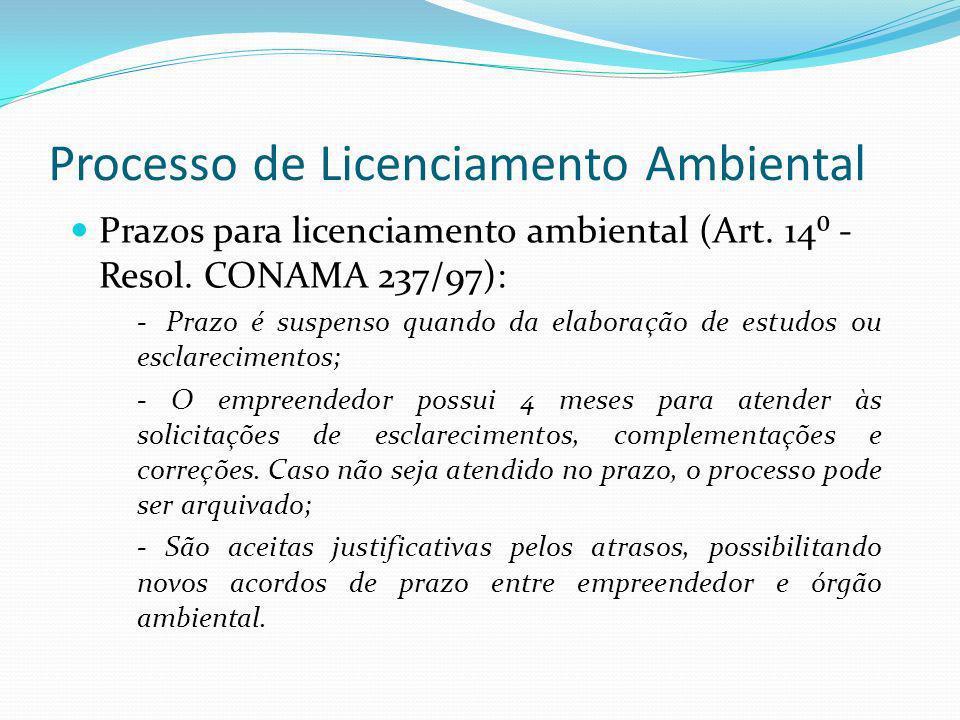 Processo de Licenciamento Ambiental Prazos para licenciamento ambiental (Art. 14 - Resol. CONAMA 237/97): -Prazo é suspenso quando da elaboração de es