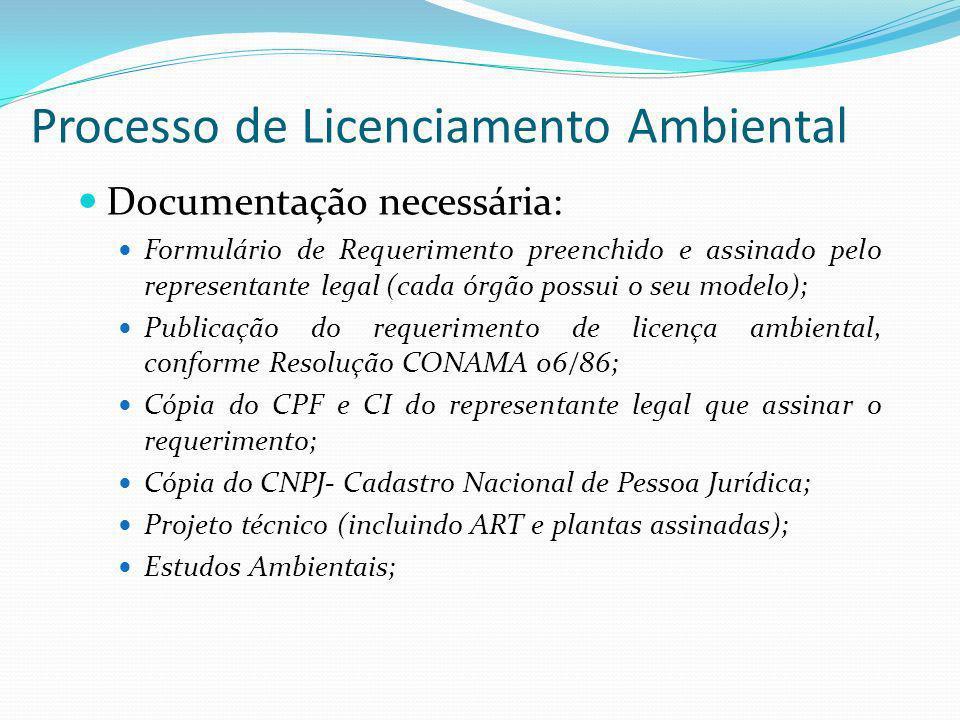 Processo de Licenciamento Ambiental Documentação necessária: Formulário de Requerimento preenchido e assinado pelo representante legal (cada órgão pos