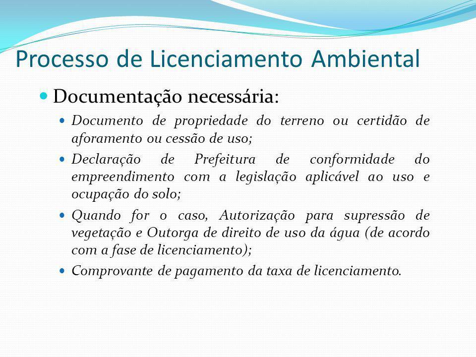 Processo de Licenciamento Ambiental Documentação necessária: Documento de propriedade do terreno ou certidão de aforamento ou cessão de uso; Declaraçã