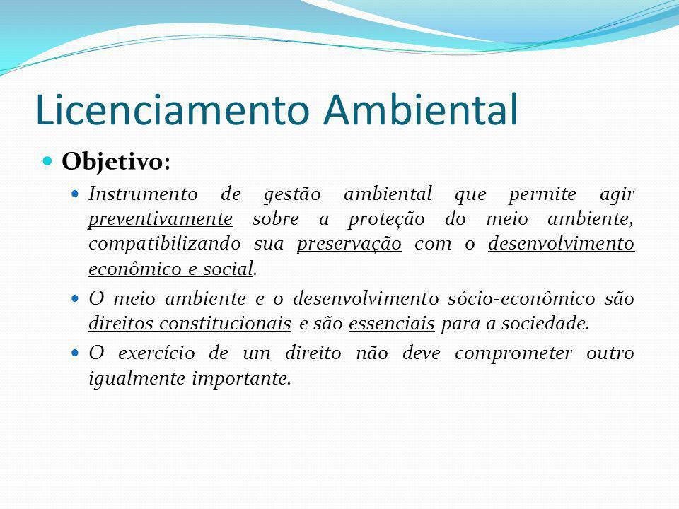 Licenciamento Ambiental É um dos instrumentos previsto na Lei n6938/81 – Política Nacional de Meio Ambiente (Art.9): I - o estabelecimento de padrões de qualidade ambiental; II - o zoneamento ambiental; III - a avaliação de impactos ambientais; IV - o licenciamento e a revisão de atividades efetiva ou potencialmente poluidoras;...VI - a criação de espaços territoriais especialmente protegidos pelo Poder Público federal, estadual e municipal, tais como APA, ARIE e reservas extrativistas;...