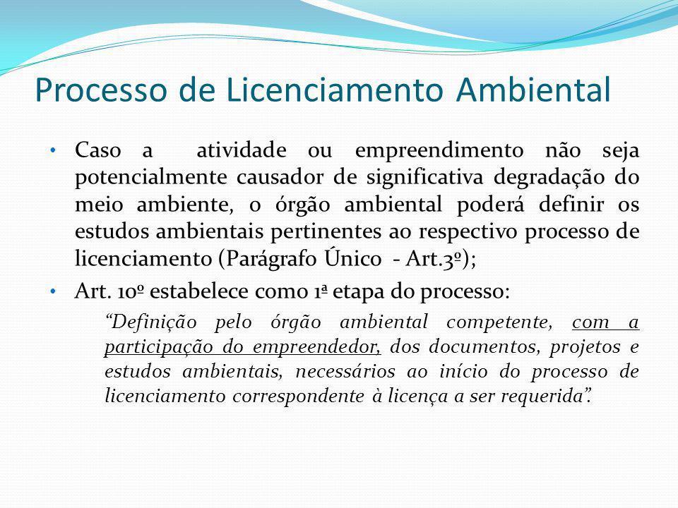 Processo de Licenciamento Ambiental Caso a atividade ou empreendimento não seja potencialmente causador de significativa degradação do meio ambiente,