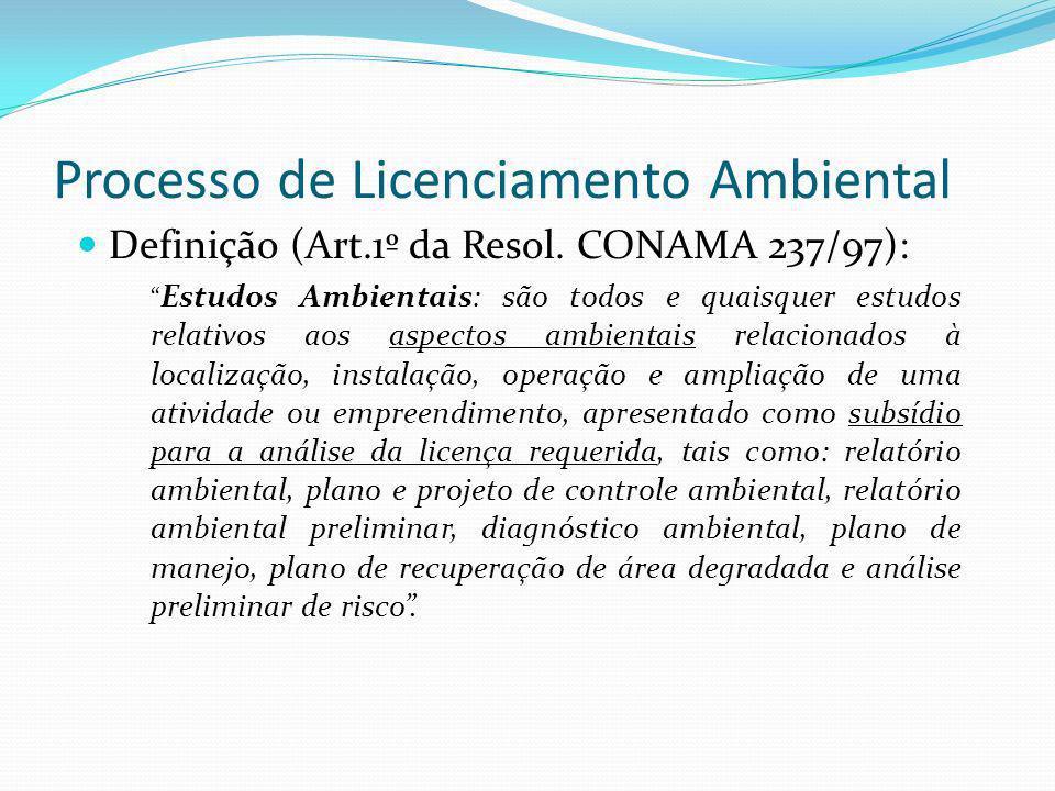 Processo de Licenciamento Ambiental Definição (Art.1º da Resol. CONAMA 237/97): Estudos Ambientais: são todos e quaisquer estudos relativos aos aspect