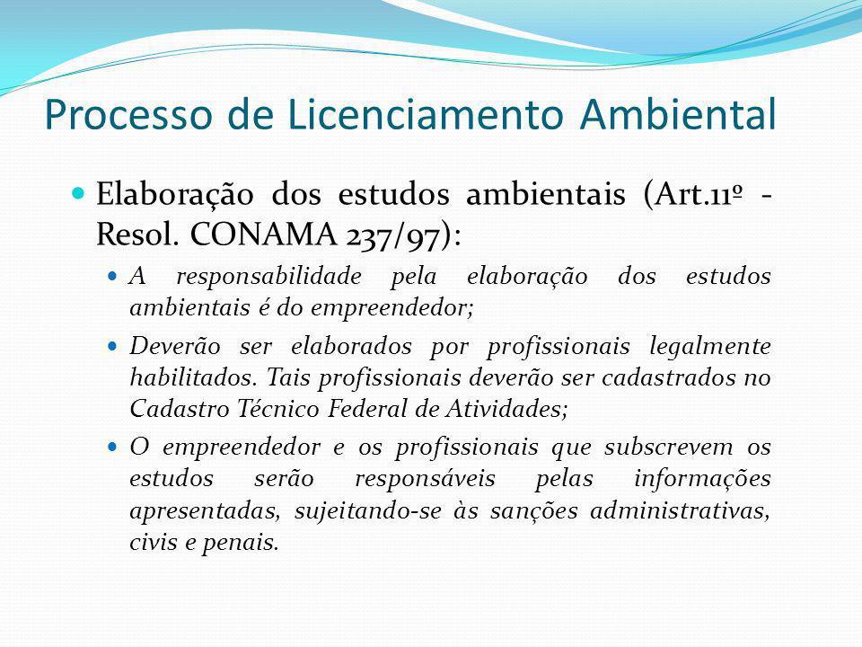 Processo de Licenciamento Ambiental Elaboração dos estudos ambientais (Art.11º - Resol. CONAMA 237/97): A responsabilidade pela elaboração dos estudos