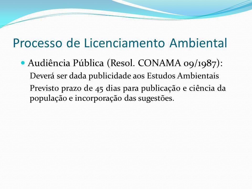 Processo de Licenciamento Ambiental Audiência Pública (Resol. CONAMA 09/1987): Deverá ser dada publicidade aos Estudos Ambientais Previsto prazo de 45