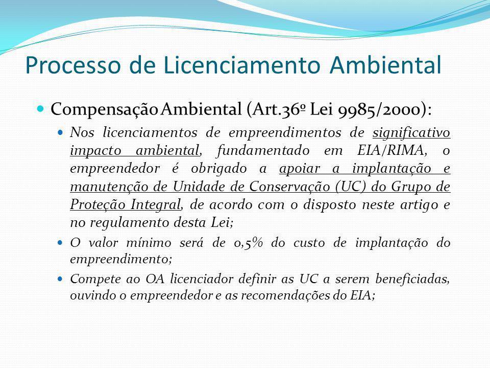 Processo de Licenciamento Ambiental Compensação Ambiental (Art.36º Lei 9985/2000): Nos licenciamentos de empreendimentos de significativo impacto ambi