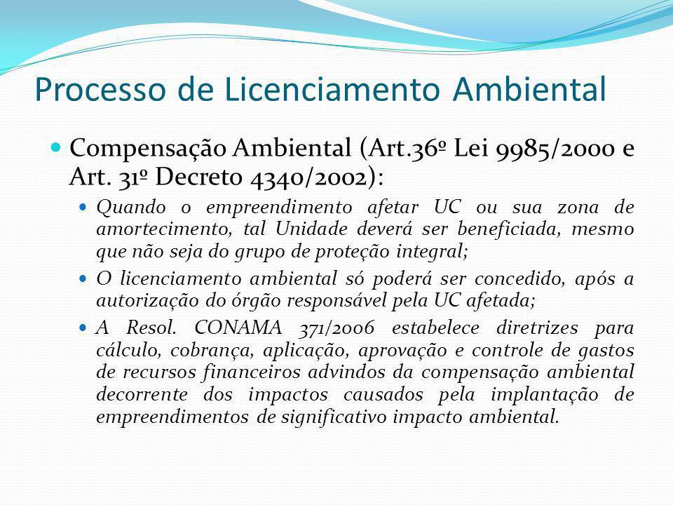 Processo de Licenciamento Ambiental Compensação Ambiental (Art.36º Lei 9985/2000 e Art. 31º Decreto 4340/2002): Quando o empreendimento afetar UC ou s