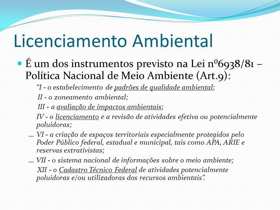 Licenciamento Ambiental É um dos instrumentos previsto na Lei n6938/81 – Política Nacional de Meio Ambiente (Art.9): I - o estabelecimento de padrões