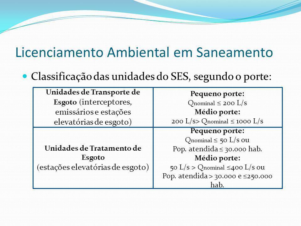 Licenciamento Ambiental em Saneamento Classificação das unidades do SES, segundo o porte: Unidades de Transporte de Esgoto ( interceptores, emissários