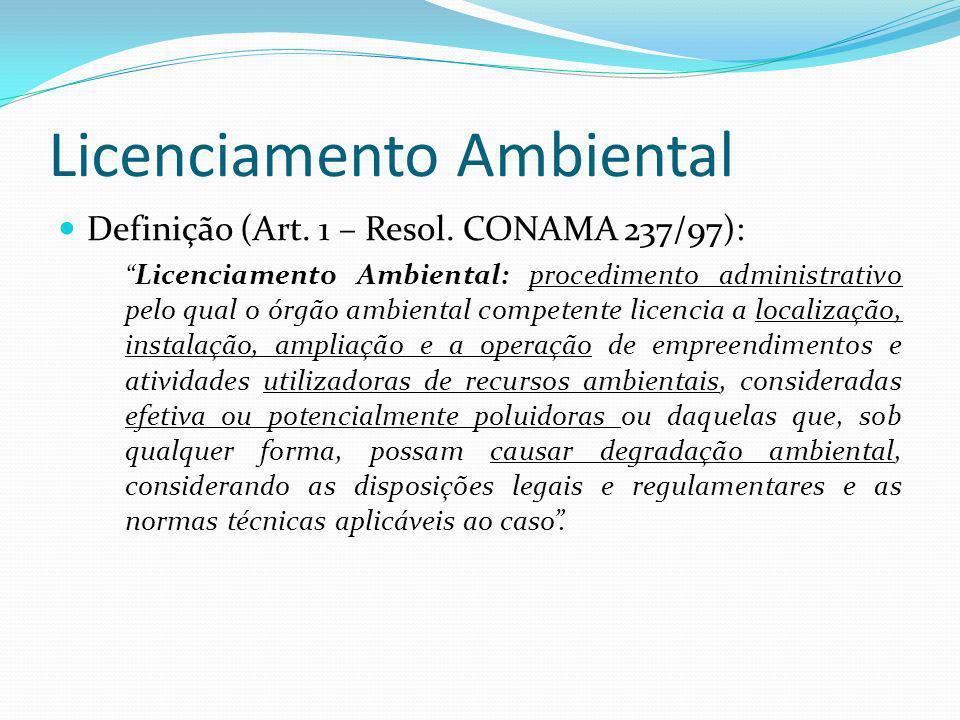 Licenciamento Ambiental Definição (Art. 1 – Resol. CONAMA 237/97): Licenciamento Ambiental: procedimento administrativo pelo qual o órgão ambiental co